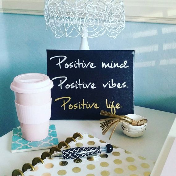 Gold, Black and silver hand lettered Positive vibes quote canvas. Bring some Good vibes into your home, office, craft room, dorm and more! Positive mind. Positive vibes. Positive life. Canvas wall art.