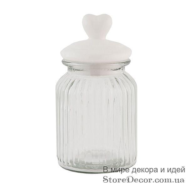 Стеклянная банка с сердечком, 20 см