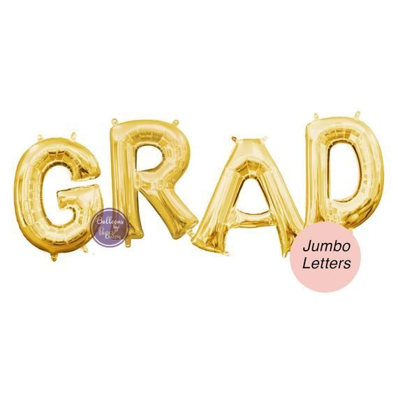 GRAD Giant Letter Balloons – Balloon Decor Kit – Graduation Balloons – Gold Letters Photo Props, Foil Balloons, Jumbo Letter Gold Balloons
