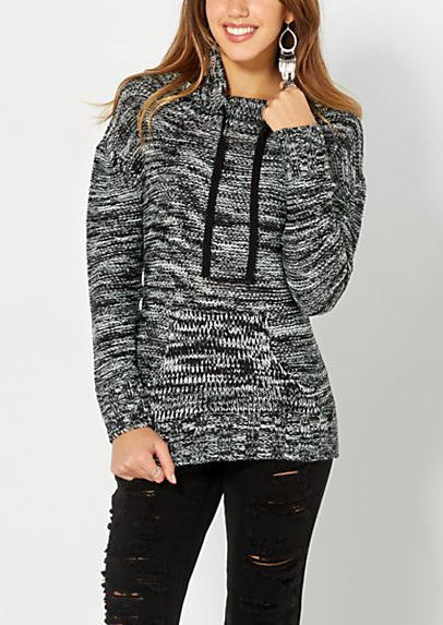 Marled Black Knit Funnel Sweater | rue21