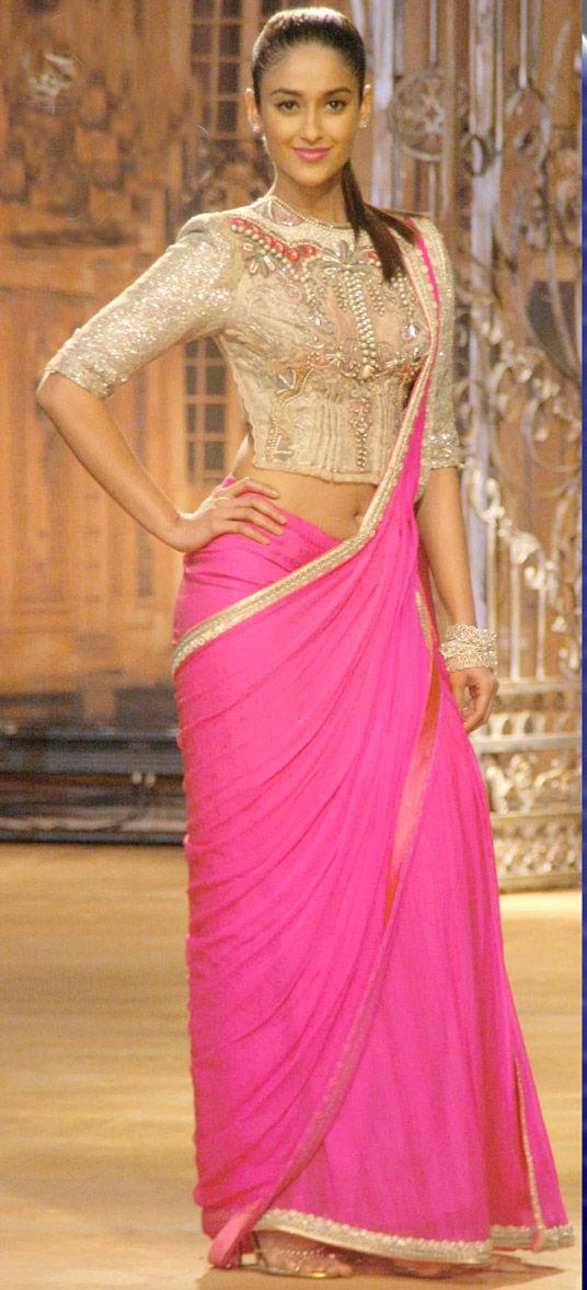 USD 52.87 Ileana Dcruz Pink Georgette Bollywood Saree 44229