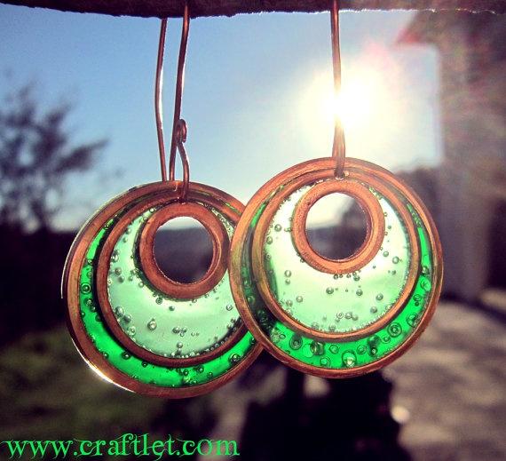 Shiny Green Enamel Earrings Hoops