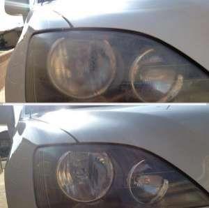 pasta de dientes en faros de coches