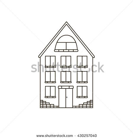 House Simple BuildingLine Drawing Icon Modern Cottage