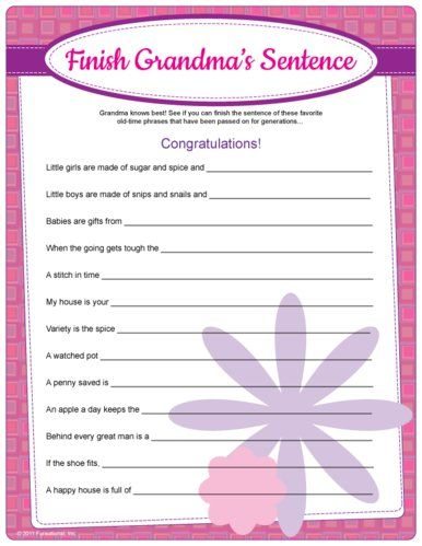 Free Fun Baby Shower Games Printable | Finish Grandma's Sentence