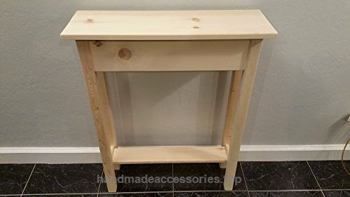 24″ Unfinished Pine Narrow Wall, Foyer, Sofa , Console, Hall Table With Bottom Shelf  Check It Out Now     $85.00    24″ Long x 7.5″ Deep x 30″ Tall. Made with solid premium white pine. The legs are 1-3/8″ square. The front, back and  ..  http://www.handmadeaccessories.top/2017/03/23/24-unfinished-pine-narrow-wall-foyer-sofa-console-hall-table-with-bottom-shelf-2/