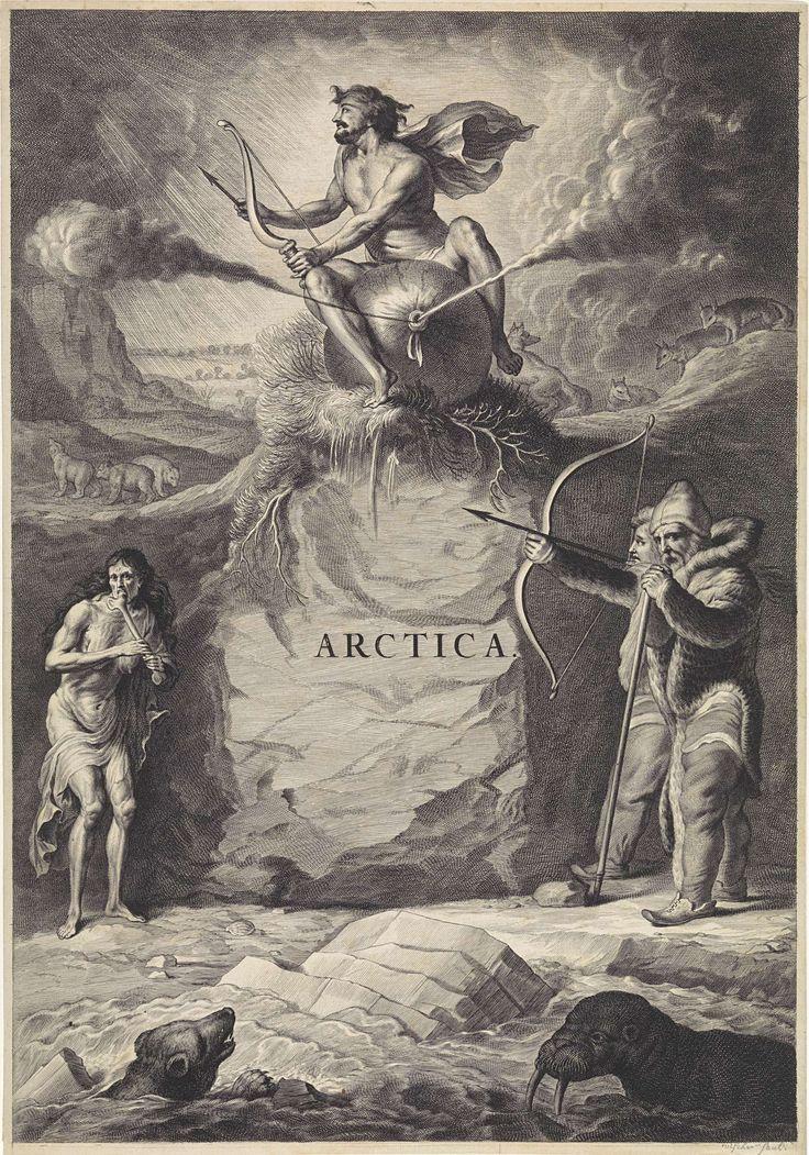 anoniem | Arctisch landschap, rejected attribution Jan de Visscher, 1650 - 1700 | Gezicht op een arctisch landschap met een rots waar een man met pijl en boog op een opgeblazen zak waar lucht uit stroomt zit. Op de voorgrond een walrus en een ijsbeer in het water. Aan de waterkant staan twee in bont gehulde mannen en een magere oude vrouw die op een been knaagt. Op de achtergrond enkele poolvossen en ijsberen.