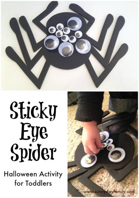 Sticky eye spider fine motor activity and Halloween spider craft for toddlers.