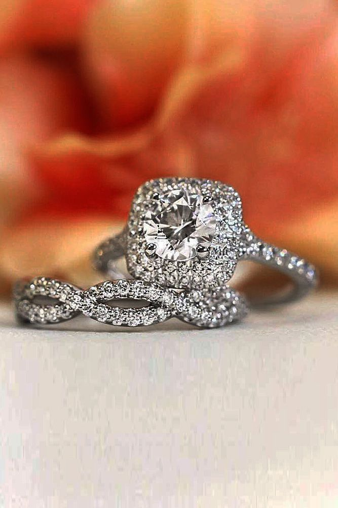 18 The Most Inspiring Halo Engagement Rings ❤️ halo engagement rings round cut wedding set pave band twist ❤️ More on the blog: https://ohsoperfectproposal.com/halo-engagement-rings/