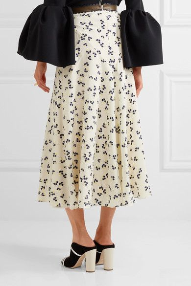 Roksanda - Moraya Leather-trimmed Printed Silk Crepe De Chine Midi Skirt - Ivory - UK