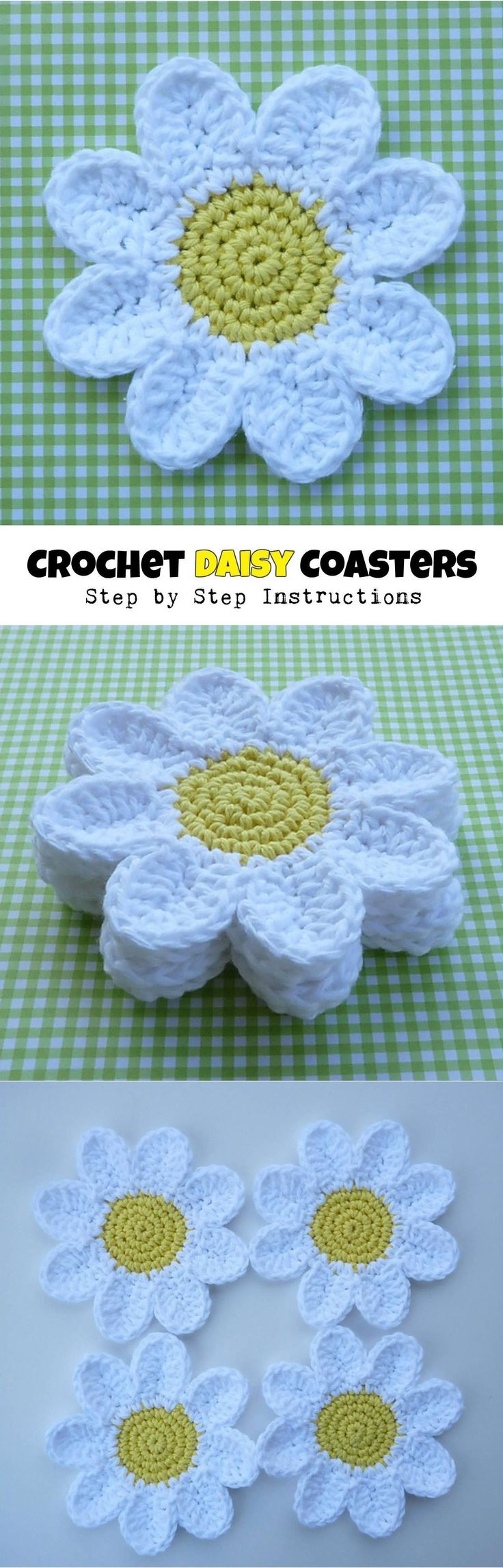 Crochet Daisy Coasters #CrochetPatterns
