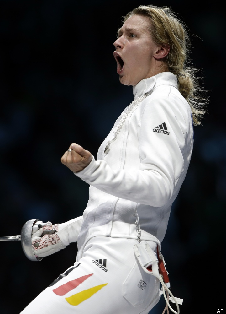 Woohoo!  Germany's Britta Heidemann reacts during a women's individual epee fencing semifinals match against South Korea's Shin A-lam at the 2012 Summer Olympics, Monday, July 30, 2012, in London. (AP Photo/Andrew Medichini)