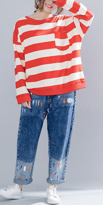 abb07cf883 Vivid cotton clothes For Women plus size o neck Runway red striped baggy  shirts spring