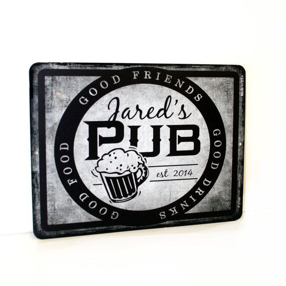 """Personalized Pub Street Sign 9"""" x 12"""" - Custom Bar Sign - Man Cave Sign, Groomsman Gift, Dad Birthday Gift, Father's Day, Men's Birthday"""
