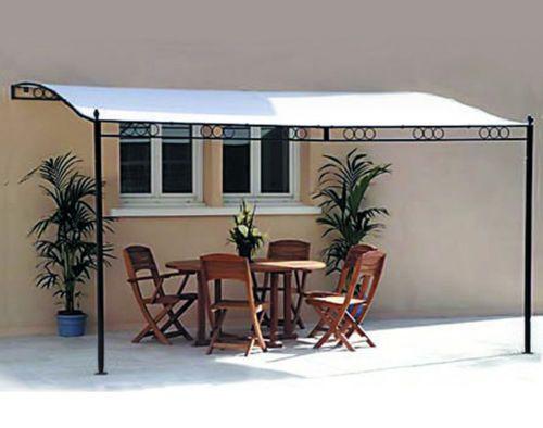 3.5M x 2.5M Fixed Wall Metal Framed Patio Awning Pergola Gazebo Canopy Marquee   eBay