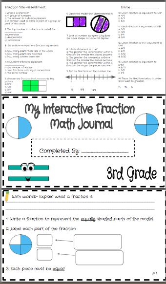 Covers ALL Third Grade Common Core Fraction Standards!!!!! FREEBIES in the preview! This is 107 pages of complete teaching resources including an student interactive journal, classwork, homework, quizzes, pre & post assessment, games, and more!