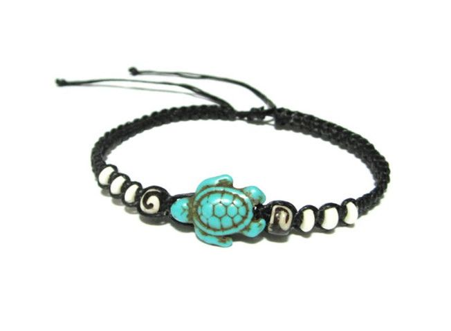 NEW Turquoise Color Sea Turtle Bracelets for women or men! Can also be worn as an ankle bracelet! Comes in 2 Styles - White beads or Multi-colored beads. Adjustable cord bracelet fits most. ***FREE SH