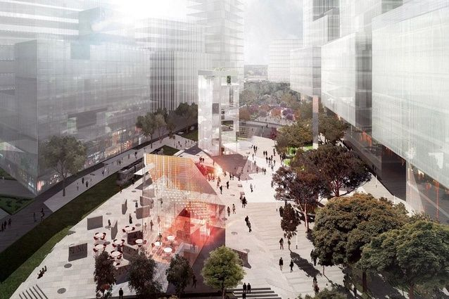 Sydney's Green Square Library and Plaza - View from Botany Road of Stewart Hollenstein + Colin Stewart Architects' winning scheme for Green Square Library and Plaza.