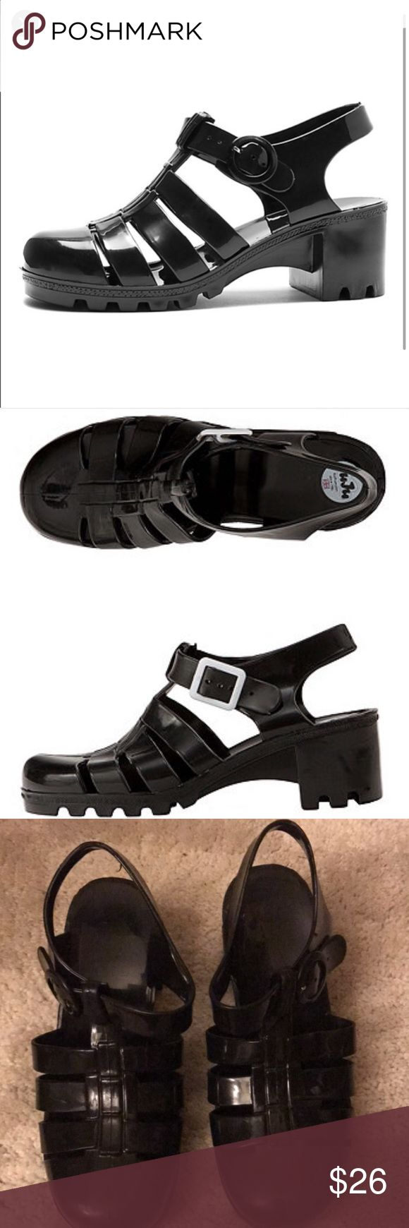 Black jelly sandals american apparel - American Apparel Black Jelly Shoes So Cute Summer Absolutely Adorable Black Jelly Shoes Worn