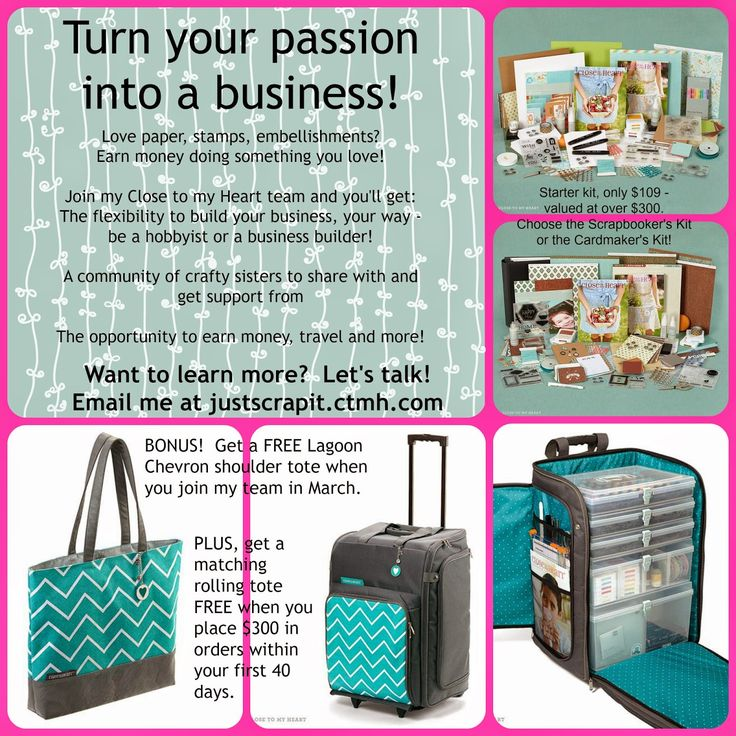 Turn your creativity and your passion into a business!  Join my Close to my Heart Team in March to get some great bonuses.  Email me at justscrapit.ctmh@gmail.com #ctmhconsultantincanada #freerollingtote #opportunity