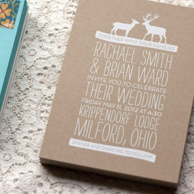 Winter white on kraft paper & deer gives it a woodsy look, Inspiration for Mobella Events, www.mobellaevents.com