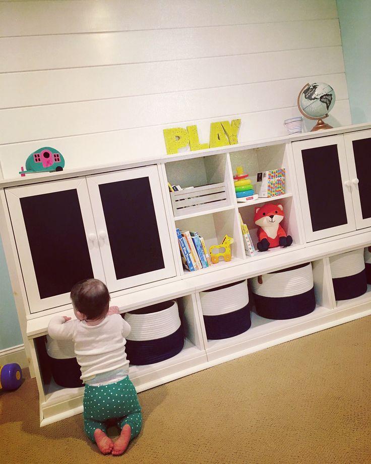 Pottery Barn Kids- Cameron Creativity Lower Storage Wall with Chalkboard Cabinet, Simply White JoAnn Fabrics- Hudson 43 baskets, FabLab letters Yogibo- fox pal