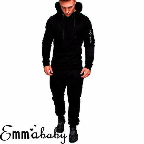 Men Tracksuit Jogging Tops Bottom Sport Sweat Suit Hoodie+Trousers Pants Outfits