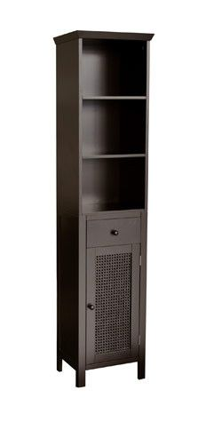 At only 15 inches wide, this slim linen tower provides vertical storage with a minimal impact on floor space.  Savannah Linen Tower in Dark Espresso Elegant Home Fashions $107.00