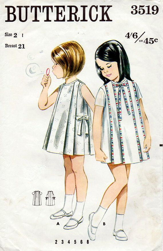1960s Girl's Pleated Dress Vintage Sewing Pattern - Butterick 3519 Size 2 Pinned by WhatnotGems