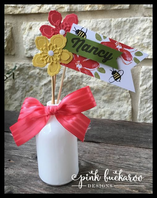 Botanical Builders and Garden In Bloom by Stampin' Up Table Favors @Pink Buckaroo Designs