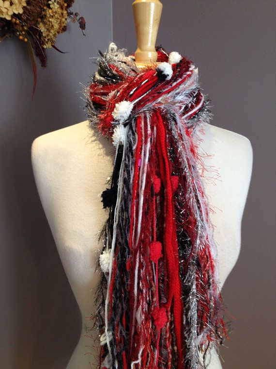 Red, Black and White Silver Scarf - Fringe Scarf in WI Badgers, Ohio State, Blackhawks, Arizona Cardinals, Atlanta Falcons, Cardinals on Etsy, $20.00