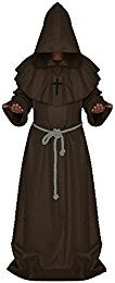 Get cashback for LETSQK Men's Friar Medieval Hooded Monk Priest Robe Tunic Halloween Costume
