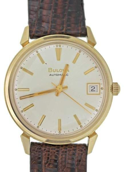 Bulova Vintage 14k Solid Yellow Gold Back w/ Leather Strap Watch.  Bulova Mens Watches.