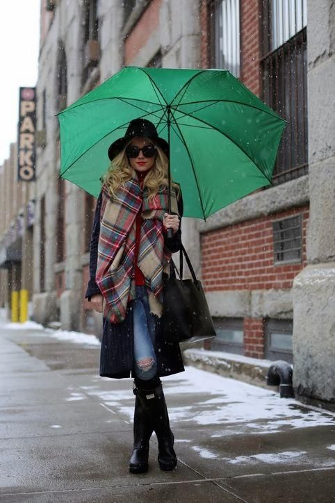 Atlantic-Pacific has a great outfit idea for rainy or snowy days: pull on Hunter rain boots with a knee-length coat and oversized scarf. Don't forget a large golf umbrella!: