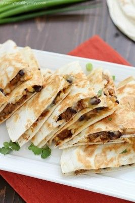 Quick & Easy Vegetarian Quesadilla, full of black beans, corn, salsa and BOCA Essentials burgers. Absolutely delicious...a yummy healthy lunch or dinner recipe!
