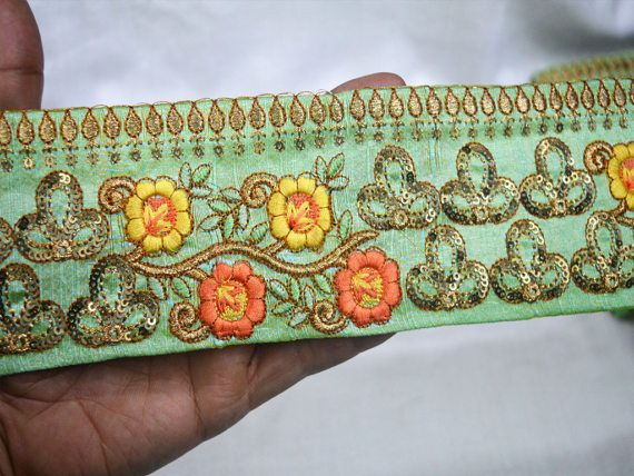 Wholesale Green Indian Saree Lace Decorative Trim Costume Embroidery Trim Craft Ribbon Sari Border By 9 Yard Sewing Fabric Trim Fashion tape