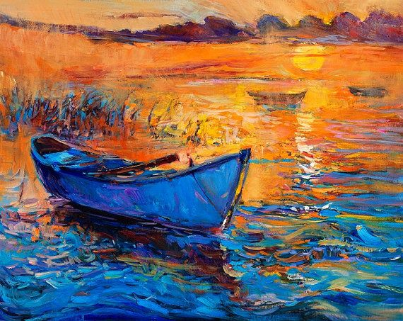 Original Oil Blue boat , Modern Impressionism Style 16x20 inch, Landscape Painting Impressionistic OIl on Canvas by Ivailo Nikolov