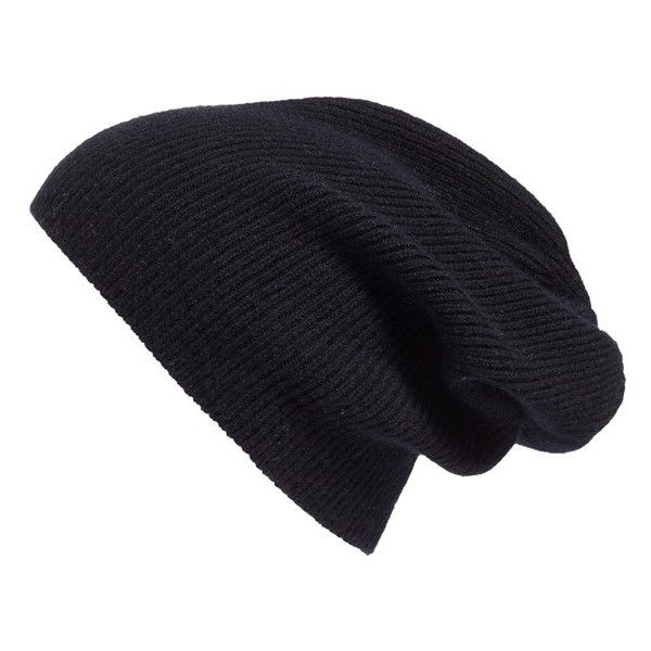 Women's Halogen Slouchy Cashmere Beanie (£27) ❤ liked on Polyvore featuring accessories, hats, beanie, head wear and gloves, scarves and hats, black, slouchy beanie, slouchy hat, beanie cap and cashmere slouch hat