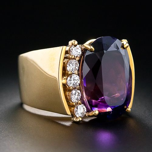 Estate 13.50 Carat Amethyst and Diamond Ring