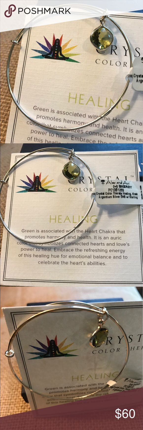 RARE NWT Alex & Ani HEALING Crystal Color Therapy NWT Rare Alex and Ani HEALING Crystal Infusion Color Therapy.  Made of .925 Sterling Silver and Argentium Silver. Original retail $128.  HEALING #Health #Harmony #EmotionalBalance.   Comes with A&A HEALING card and box.  Price Firm for this rare piece. Alex & Ani Jewelry Bracelets