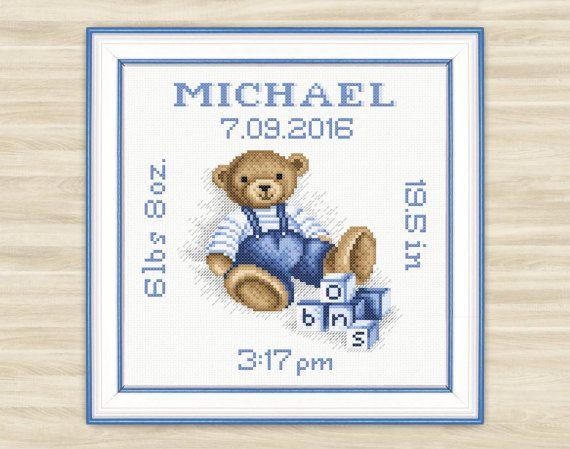 Personalised Teddy bear Cross Stitch Pattern PDF by TimeForStitch