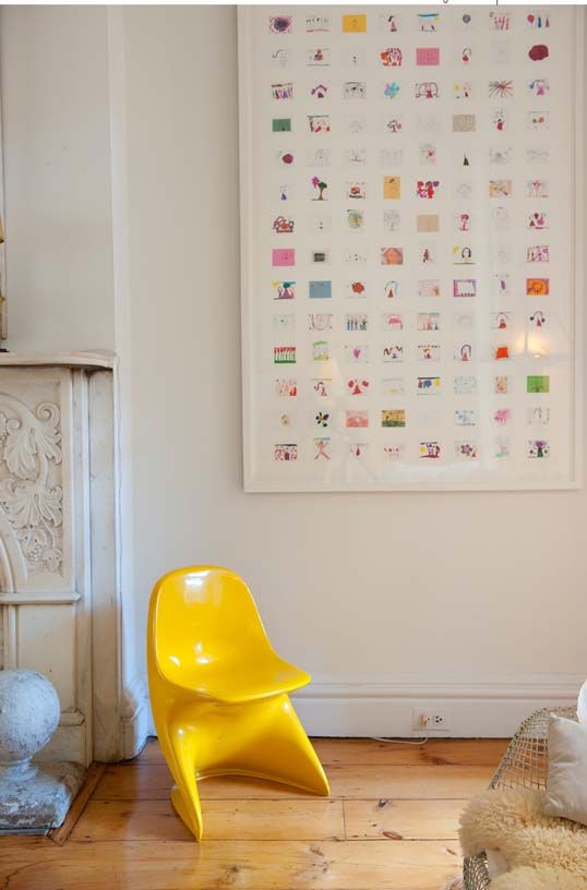 Children's artwork collage - they do so much and this seems a cool way to display a lot at a time!