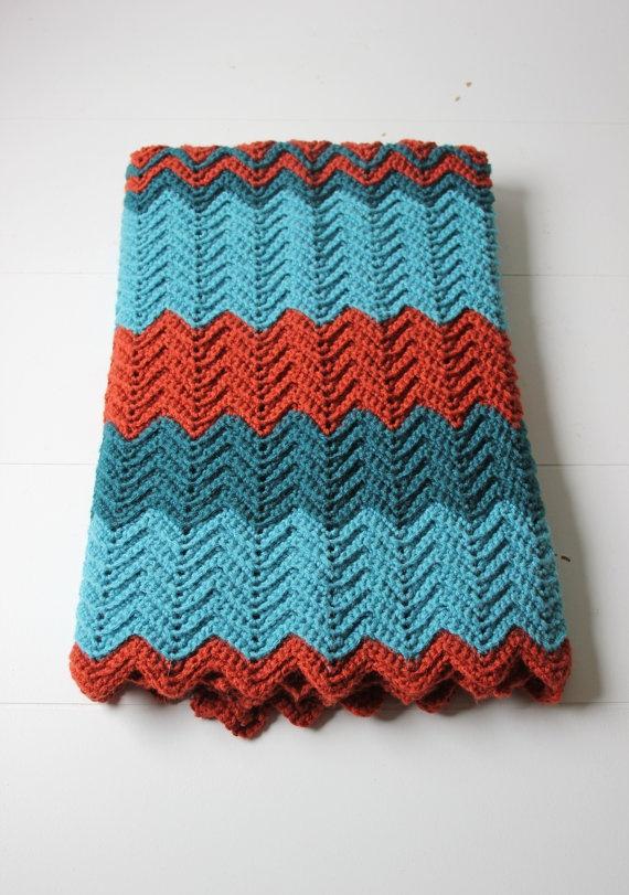 teal and rust crochet lap blanket afghan chevron pattern via Etsy