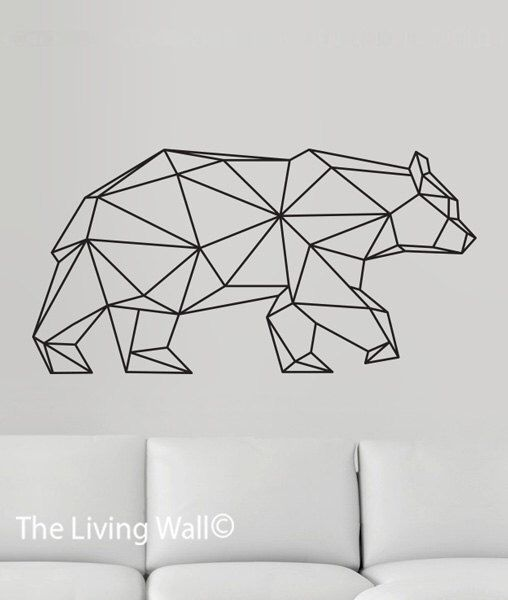 Geometric Bear Wall Decal, Geometric Animals Decals, Home Decor Wall Decals, Geometrics Vinyl Wall Stickers door LivingWall op Etsy https://www.etsy.com/nl/listing/241396100/geometric-bear-wall-decal-geometric