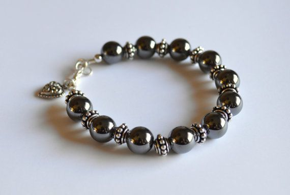 Hematite and silver bracelet hematite jewelry by starrydreams, $35.00