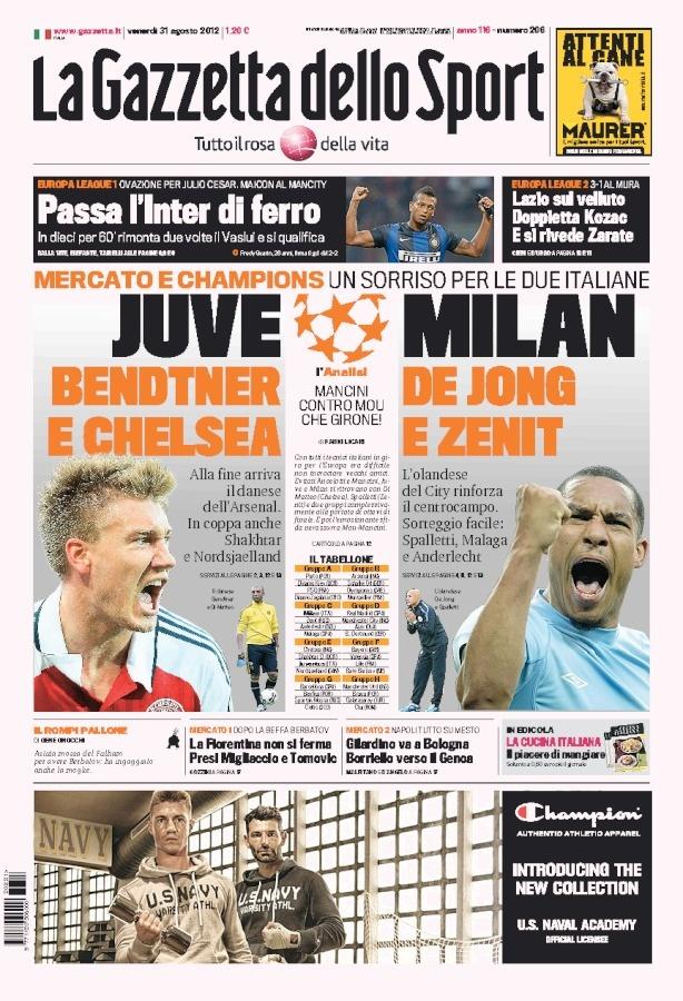 Gazzetta , la prima pagina del 31 08 2012