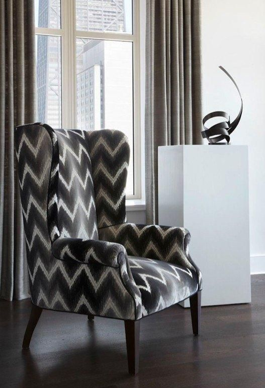 Julia Wong Home Collection Wing Chair Featured In A COM Fabric Featured At  The Ritz Carlton Residences, Chicago, Magnificent Mile Amazing Design