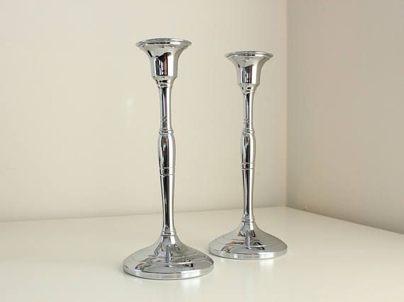 Chrome Plated Art Deco Candlestick Pair—Chromium by Cromwell Silver Mfg at Los Fabulous Vintage
