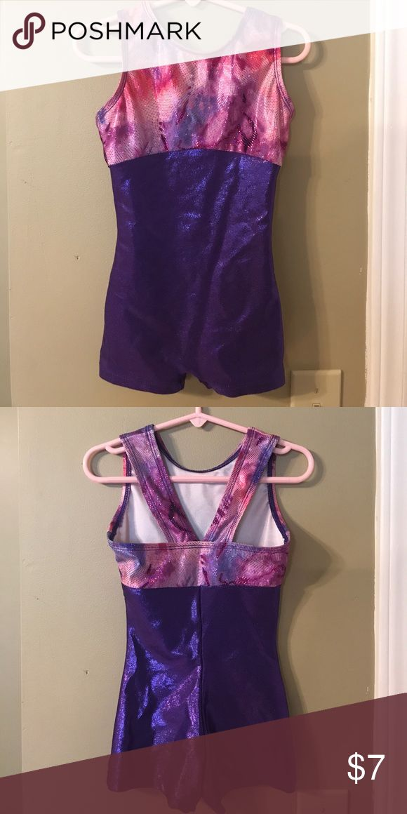 SC pink and purple sparkle gymnastics leotard Perfecr Balance pink and purple sparkle shorts-style gymnastics 🤸‍♂️ or dance leotard. 80% polyester 20% spandex. Size SC. Perfect Balance Other