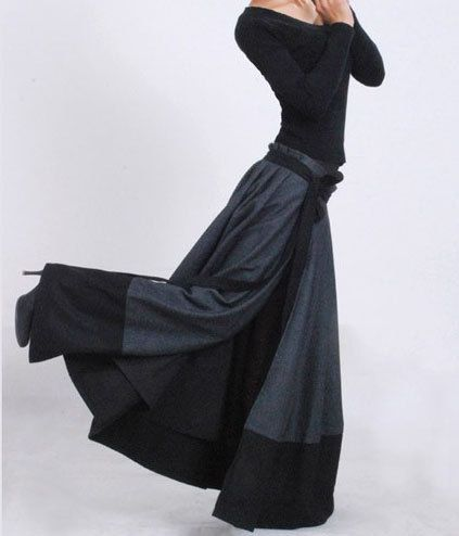 Dark grey wool skirt  wrap skirt patchwork by xiaolizi,  Nice wide pleats at waist